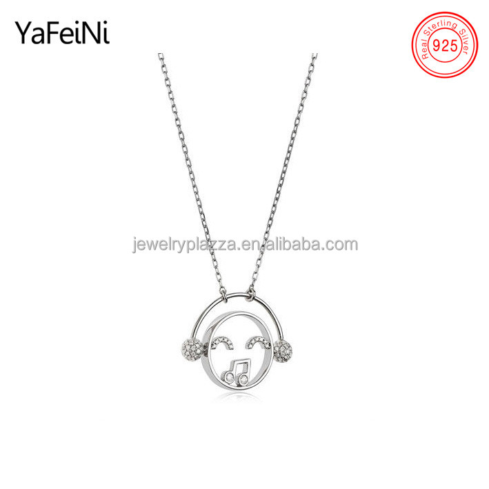 Unique jewelry 925 sterling silver sing lover with headphone pendant necklace jewelry