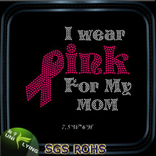 I Wear Pink For Me Mom Breast Cancer Pink Ribbons Korean Rhinestone Iron On Transfers