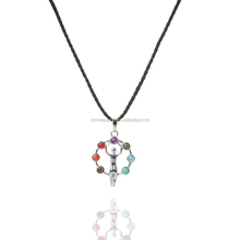silver Figure Goddess 7 Chakra Healing Stone Focal Beads Energy Balance Pendant Crystal Prism Pile Reiki chain Necklace