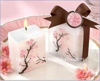 Cherry Blossom Elegance Mini-Pillar Wedding Candle Favors