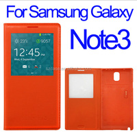 PU leather case cover for Samsung Galaxy Note 3 smart window case for note3
