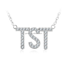 Rhodium plated AAA cubic zirconia alphabet necklace jewellery in stock