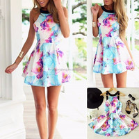 Women summer casual sleeveless party evening short lady fashion dress