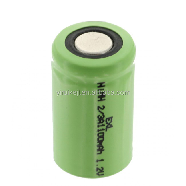 2/3A Size 1.2V 1100mAh NiMH Rechargeable Flat Top Battery