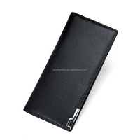 2018 new design genuine leather bifold men's long wallet