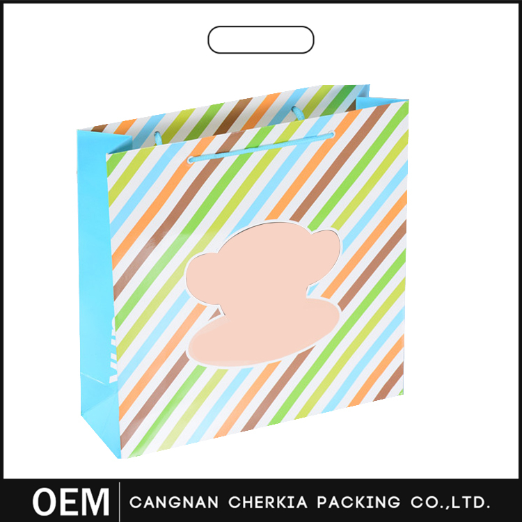 Customized top quality shopping paper bag with logo print & handle