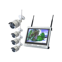 4 CH Wireless NVR Kit CCTV 12.5 inch LCD Monitor Wireless Home Outdoor Wifi Security Camera System