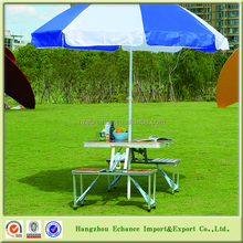 Carry case portable MDF and aluminum folding picnic table with umbrella hole