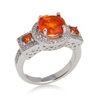 Orange Opal, Yellow Sapphire and White Zircon Sterling Silver Ring