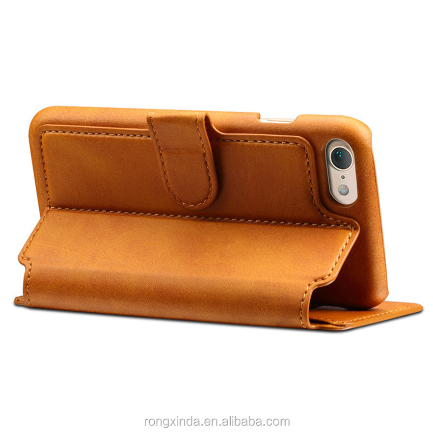 Phone Cases genuine cowhide leather new products flip cover case for iphone 7 wallet leather case with card slots for iphone 6