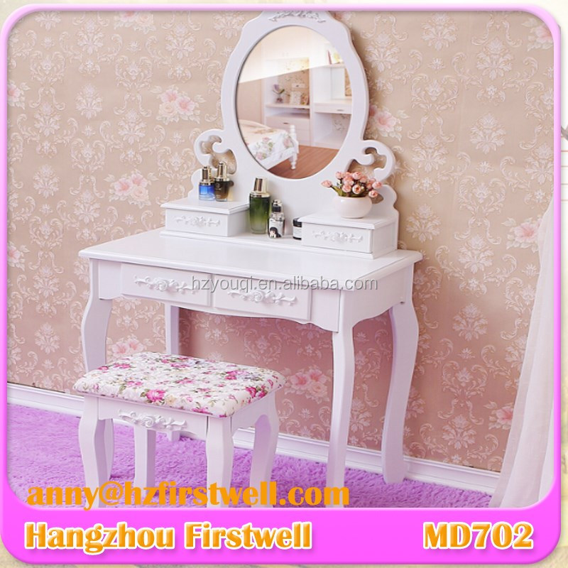 French classic dresser,dressing table with mirror,mirrored vanity table,stool
