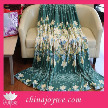 Fashion Brand Inflight Blanket Spring/Autumn Flower Printing Green Thread Blanket