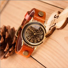 Hot fashion cowboy retro punk style leather strap watches ladies watches elegant atmosphere