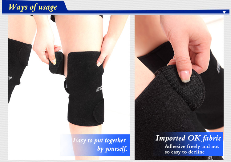 2015 Hot sale self heating magnetic curing knee pad sports protectors & graces both sports and medical usage