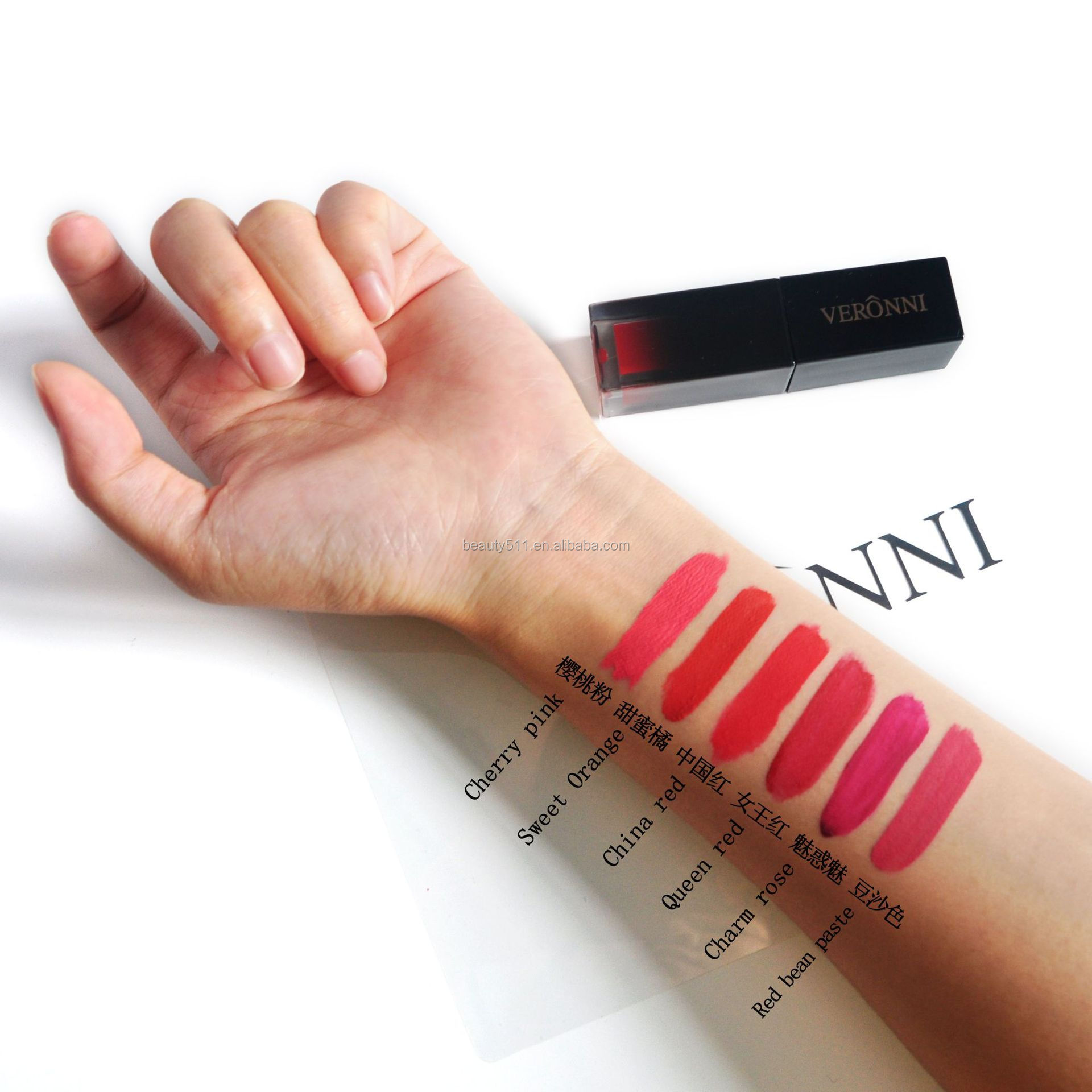 OEM 6colors Long lasting Waterproof Makeup Velvet Lip gloss
