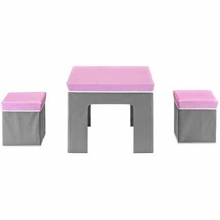 Kids Folding Fabric Table and Storage Ottoman Set- Pink