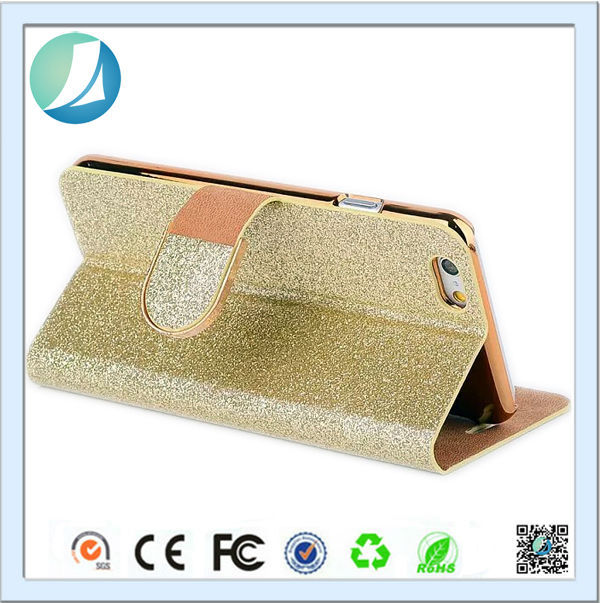 Big Promotion Trade Assurance Supplier JunBo Glitter Print Flip Wallet Leather Cover Case for iPhone 6