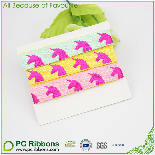 5/8 inch colorful foil printed Unicorn foe elastic ribbon