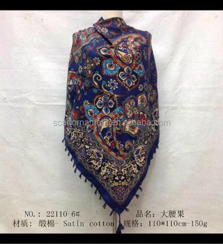 square scarf with fringe fashion scarf 20170824 110*110cm SATIN COTTON scarf