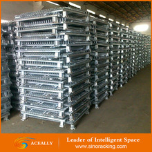 factory heavy duty industrial metal storage cages with wheels folding pallet cage