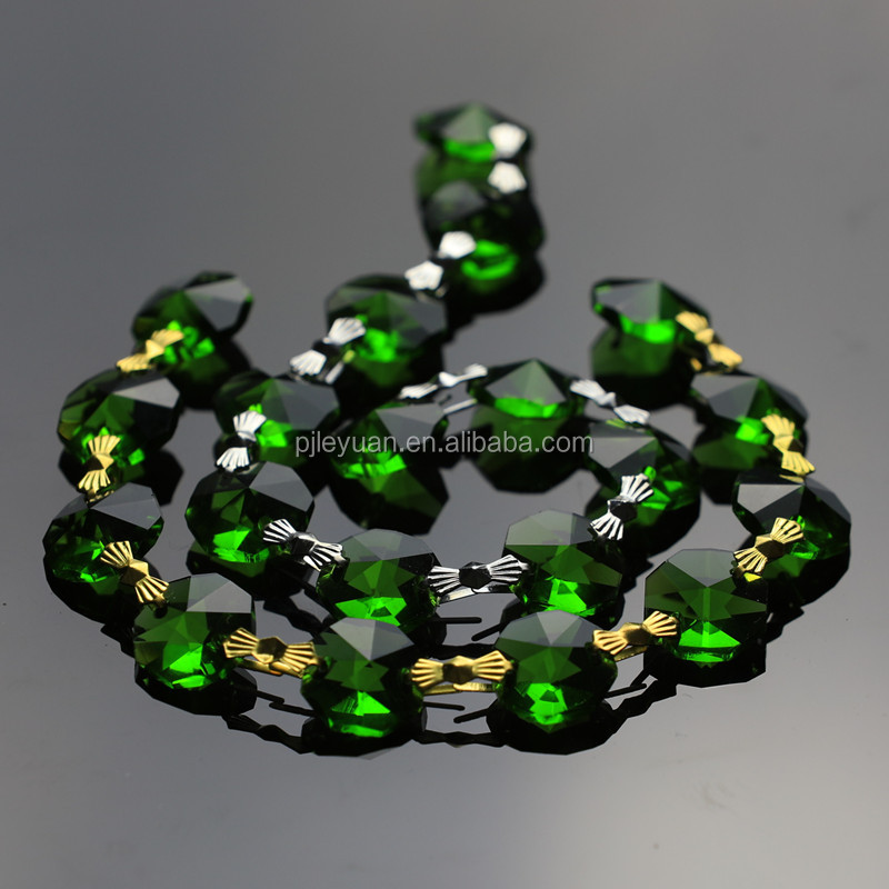 whole sale green color k9 crystal garland chain octagon beads strands