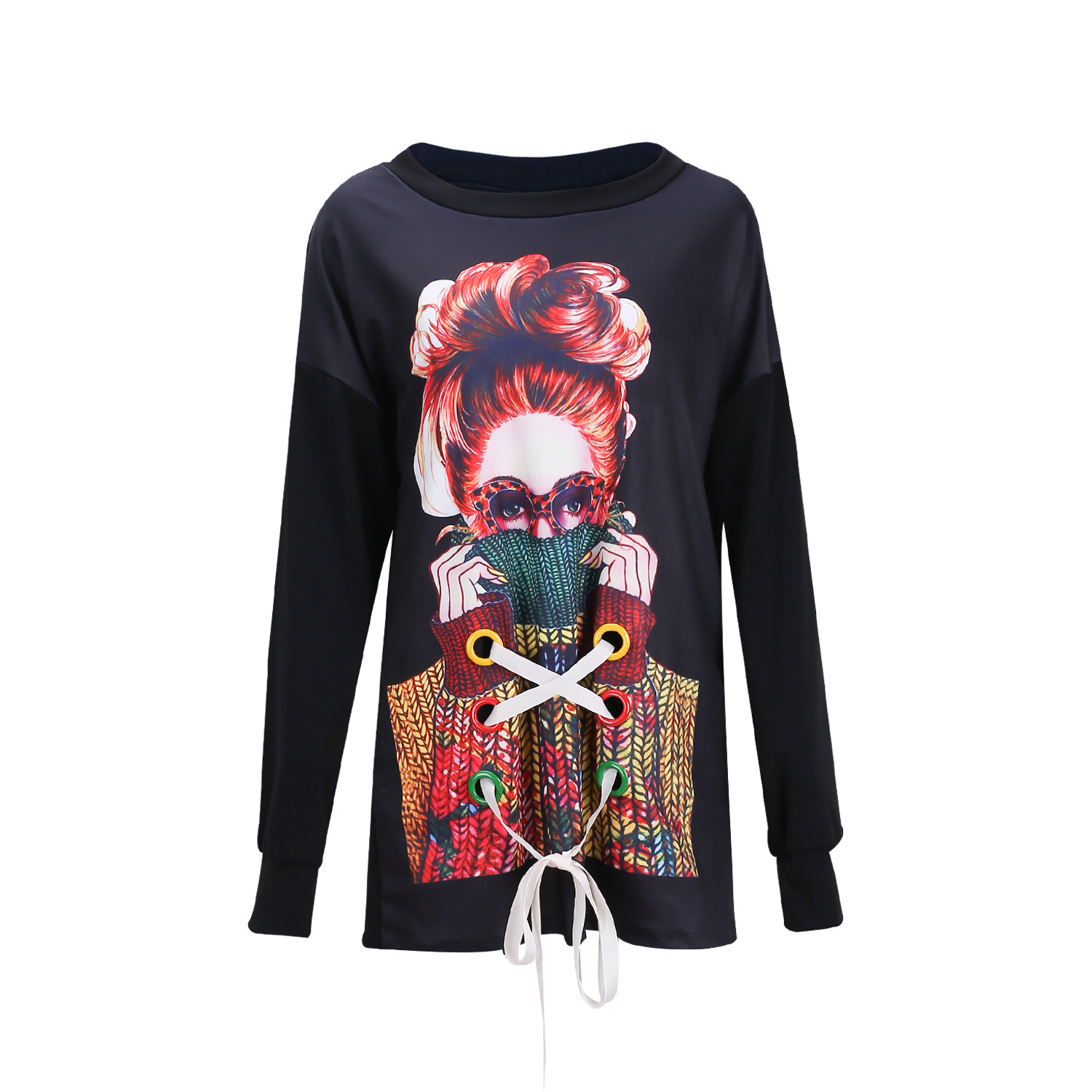 young women plus size casual round neck long sleeve graphic print sweatshirt dress