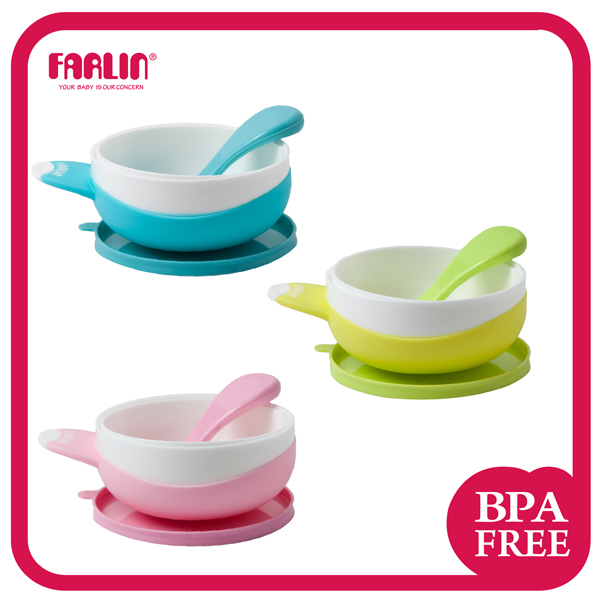 FARLIN suction bowl set with spoon and lid baby feeding bowl set