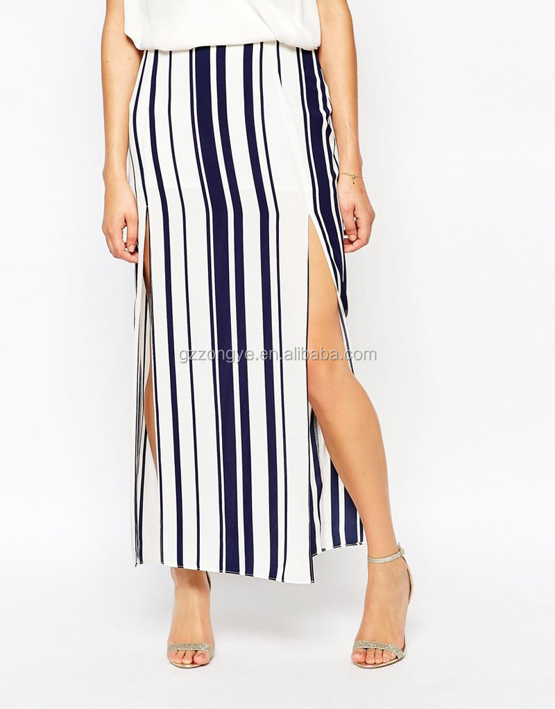 High-rise waist Double Split stripe latest long skirt models design