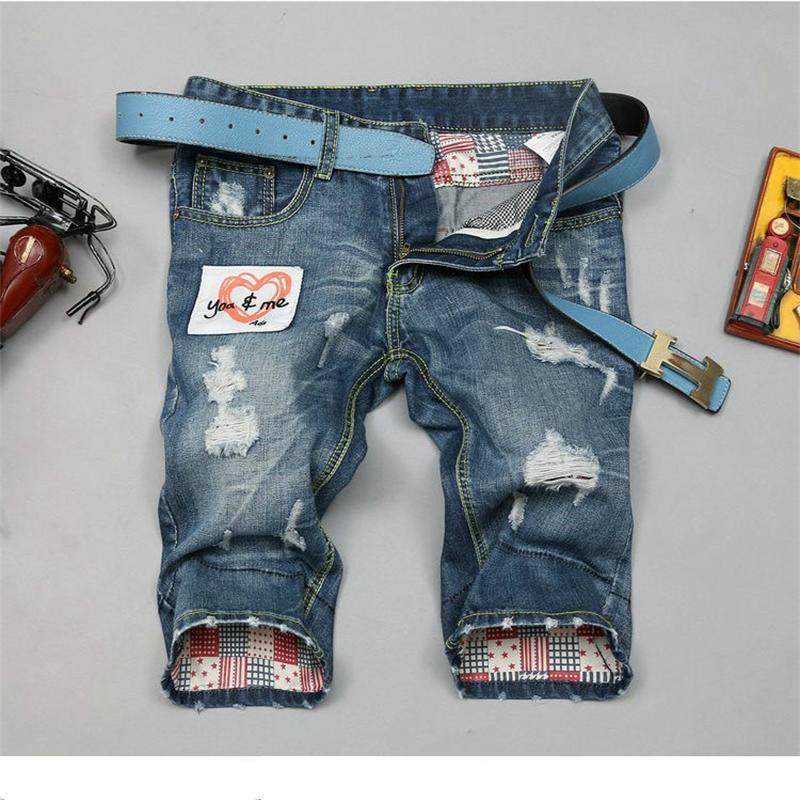 Jeans pants Top quality Solid Cotton Men's Short Trousers Skull Pattern Short Pants TS148