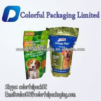Resealable plastic dog treat stand up bags with zipper/aluminum 150g dog food standing bags with ziplock and hager hole