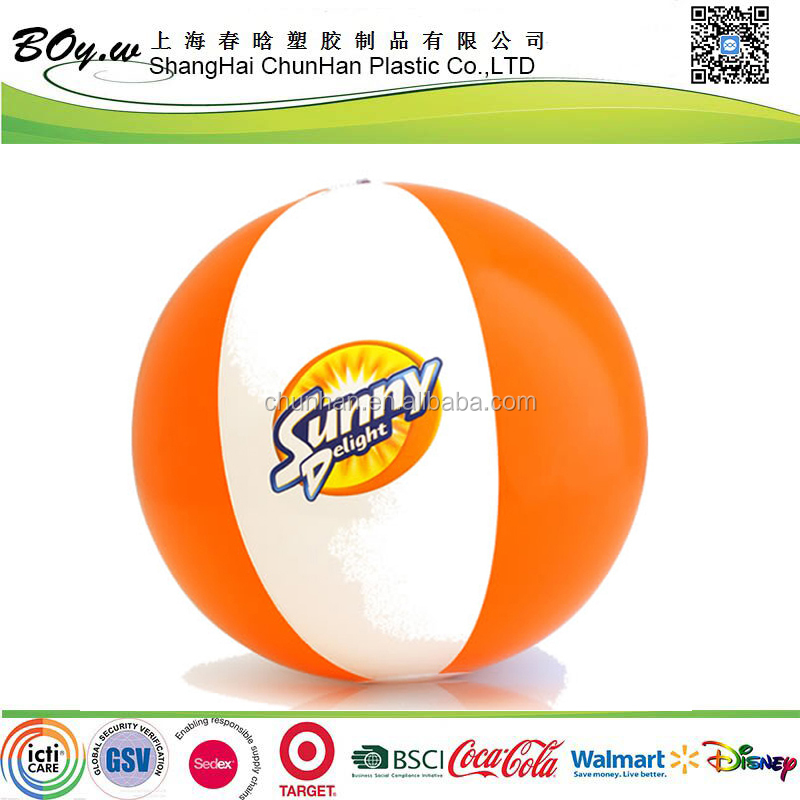ICTI factory testing OEM gifts kids toy water play white orange pvc 40cm inflatable beach ball for promotion