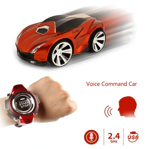 2.4GHz Mini RC Car Voice Command Car Smart Watch Remote Control Sports Car Toy