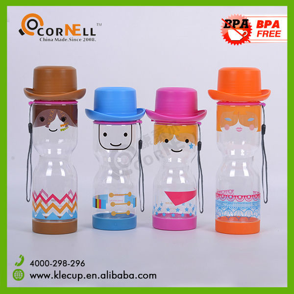 wholesale bpa free plastic water bottles with cowboy hat for children ,kids bottle