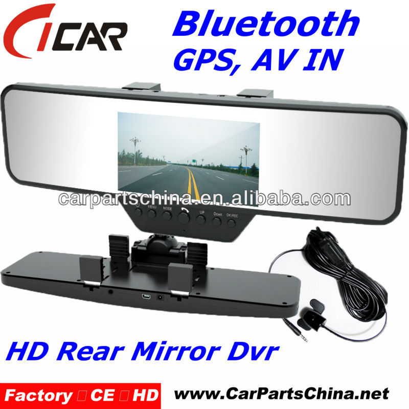 Bluetooth Hd 720P Auto Reversing dual lens CE gps car dash camera
