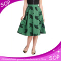Custom ladies clothing frocks design girls plus size pleated skirts cotton printed mini skirt