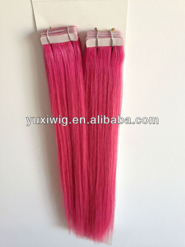 pink hair extensions tape hair