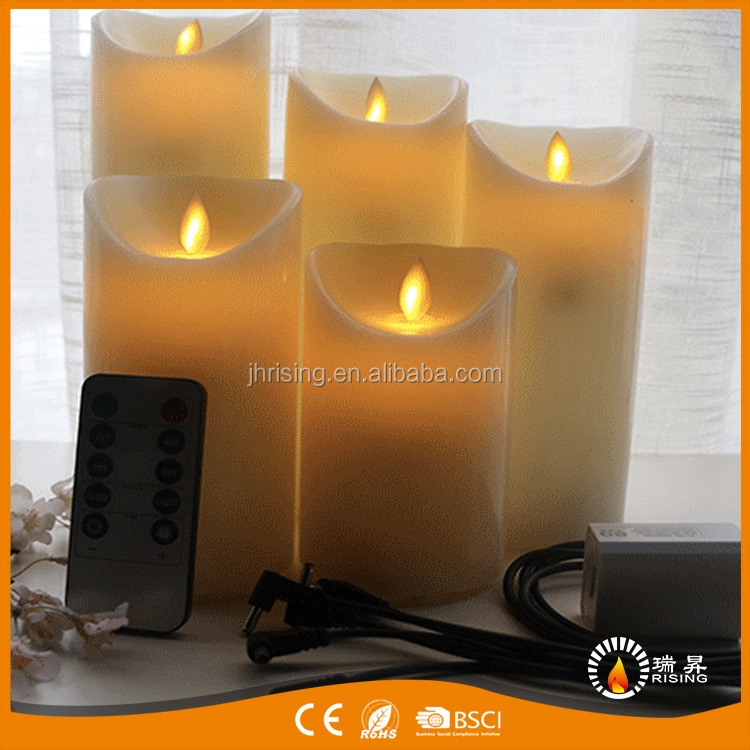 2017 Alibaba China Manufacturer USB Rechargeable Moving Wick Flameless LED Candle light