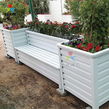 Unique raised garden bed outdoor white planter box with stool