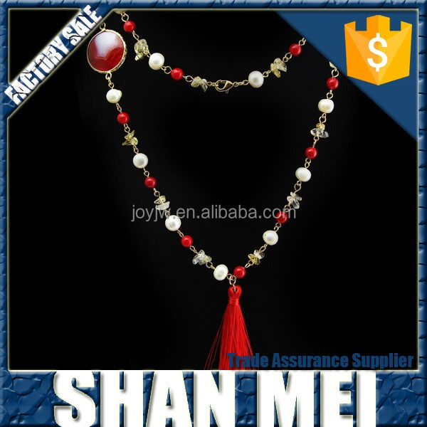 Wholesale trendy red agate stone pendant tassel necklace for women