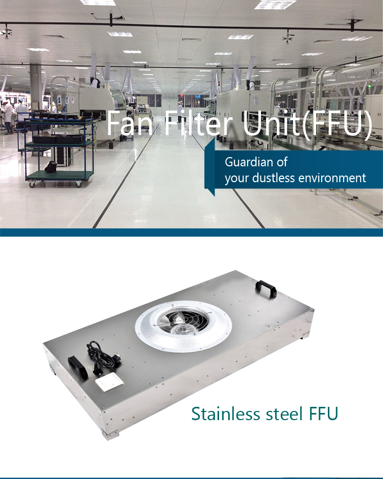 China manufacturer ventilation system stainless steel ceiling air diffuser filter fan coil unit FFU with hepa filter