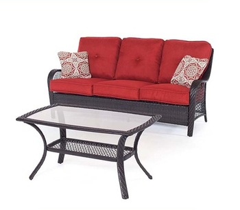 Outdoor Wicker Patio Rattan Furniture Loveseat Sofa Set with Coffee Table