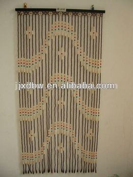 Antique Wood Beaded Shower Curtain For Sale