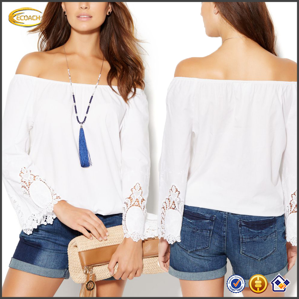 Ecoach 2016 New Designer Crochet Trim Off-the-shoulder Long Sleeve 100% Cotton Blouses For Women