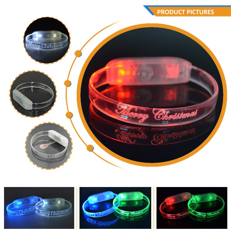 2018 Party Supply Flashing Controlled Silicon Blinking Multicolor Led Bracelet