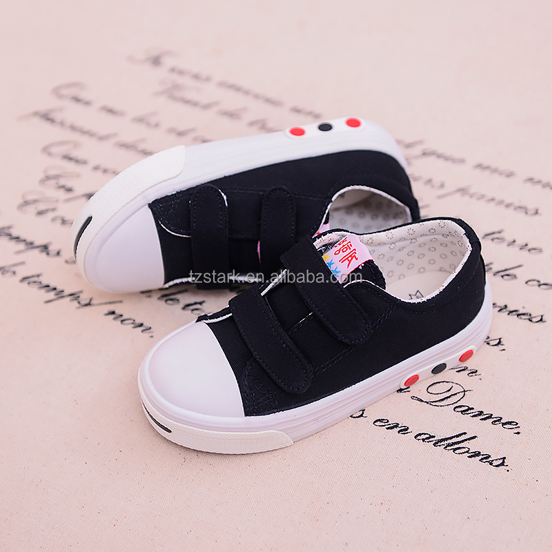 Black OEM ODM sweet kids cloth shoe Fashion latest girls canvas shoes