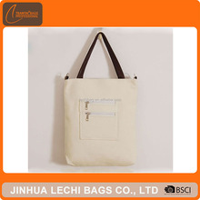 Factory direct sale canvas tote bag with leather handle
