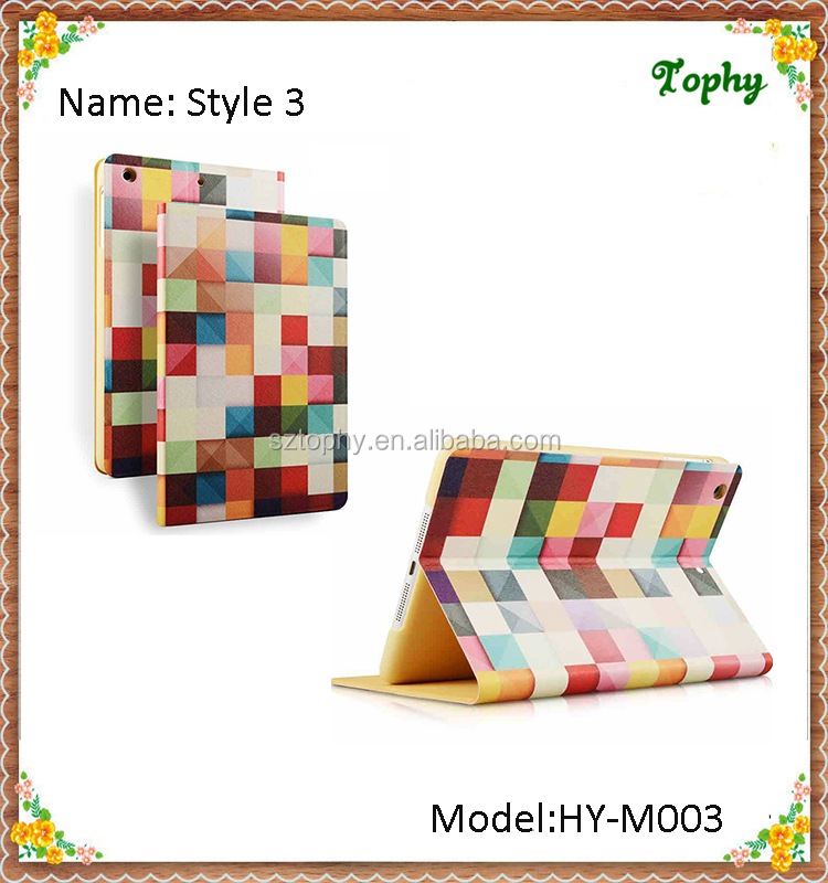 For iPad mini Rainbow Grid Colorfull Folio Leather Case Tablet Fold Smart Cover