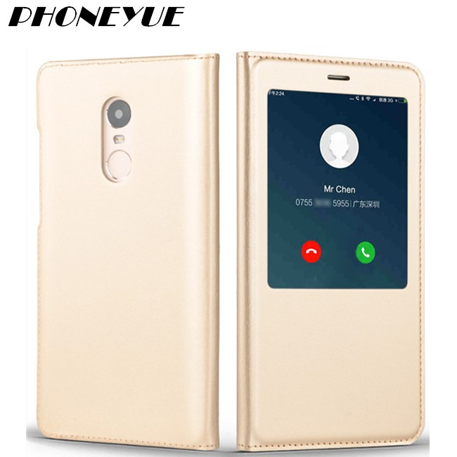 Luxury Original PU Leather Flip Case Style View Window Cover Mobile Phone Smart Flip Case for Samsung Note 4/5 For Huawei