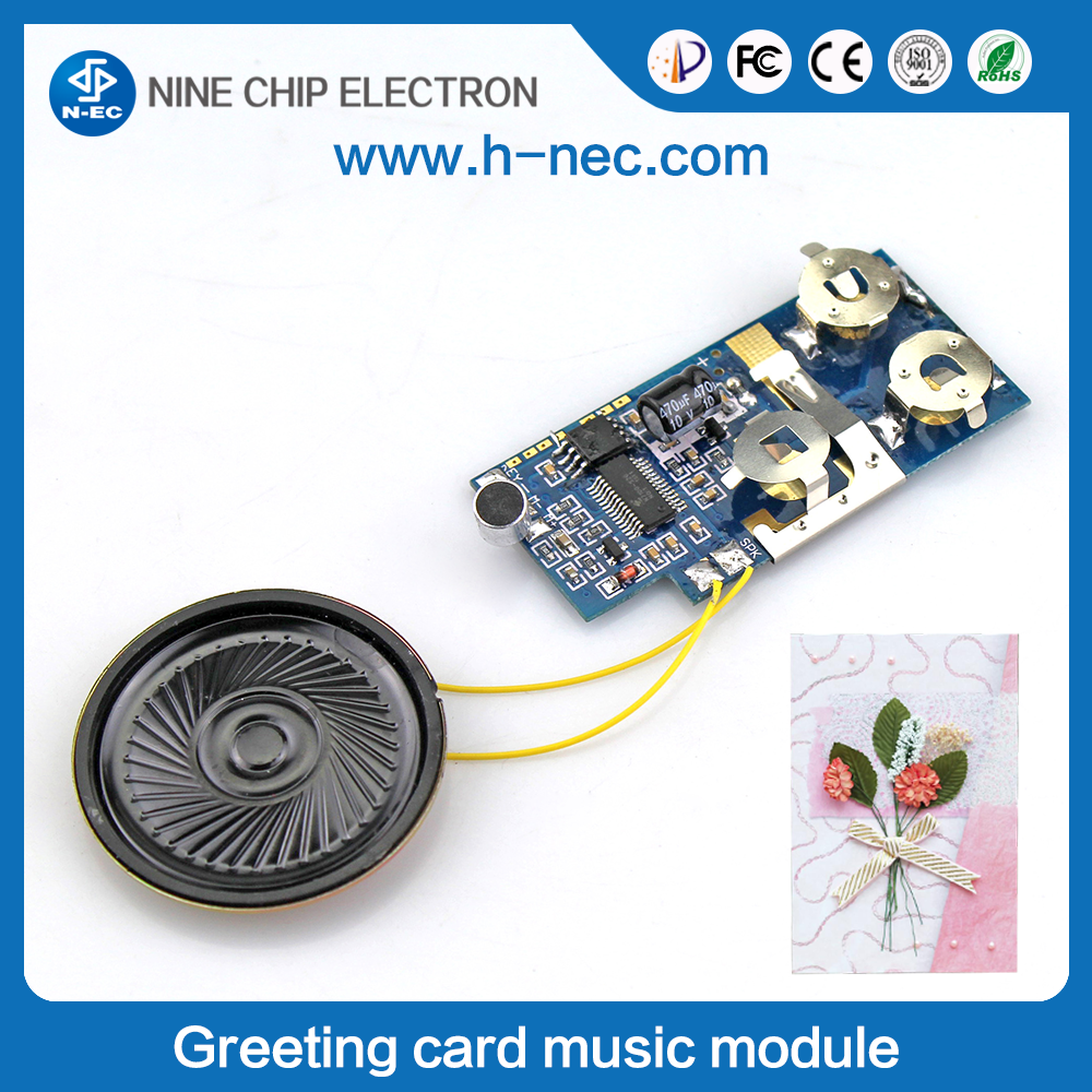 Light sensor voice recorder chip greeting card sound module