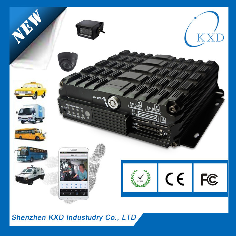 4 channel 1TB HDD SD mobile DVR PTZ control 3g live footage WIFI authority key lock CE FCC passed